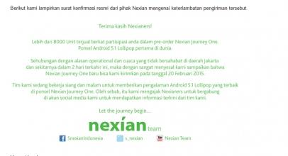 Pengiriman Nexian Journey One Tertunda