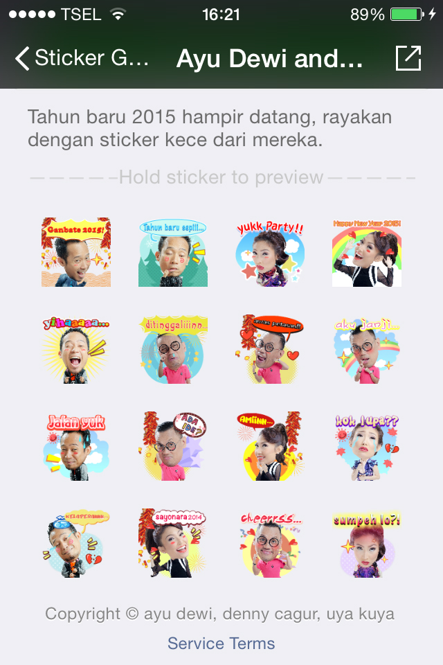 Stiker Ayu Dewi dkk Ramaikan Tahun Baru 2015