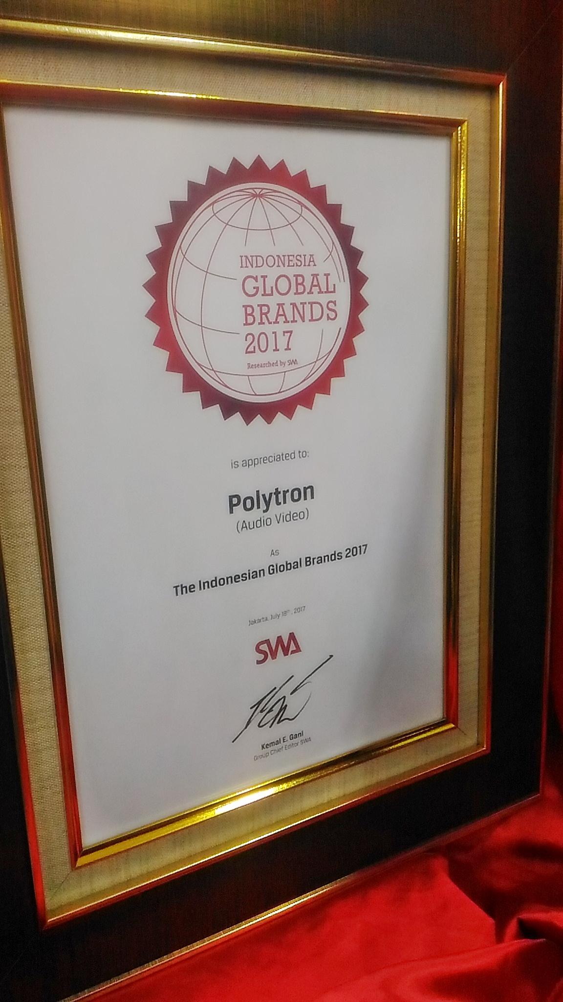 Polytron Raih Penghargaan The Indonesian Global Brands 2017
