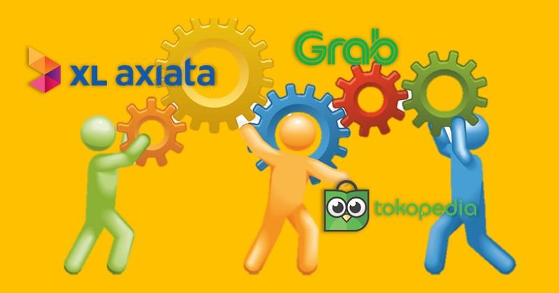 XL Axiata Kolaborasi dengan Grab dan Tokopedia